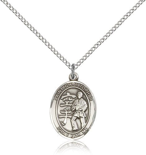 Sterling Silver St. Christopher Karate Medal with Chain Pendant
