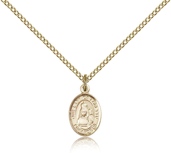 Gold Filled Our Lady of Loretto Medal with Chain Pendant
