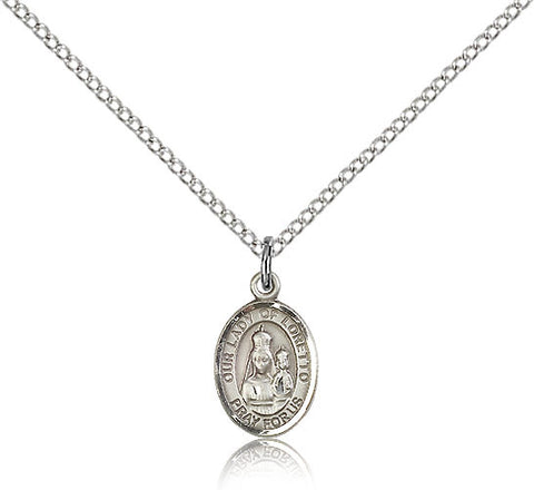 Sterling Silver Our Lady of Loretto Medal with Chain Pendant Small