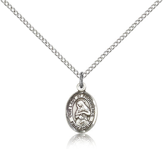 Sterling Silver Our Lady of Providence Medal with Chain Pendant Small