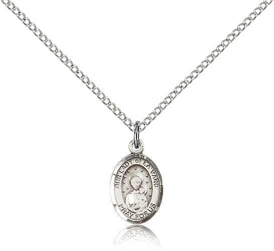 Sterling Silver Our Lady of La Vang Medal with Chain Pendant Small