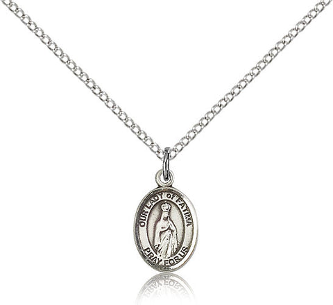 Sterling Silver Our Lady of Fatima Medal with Chain Pendant Small