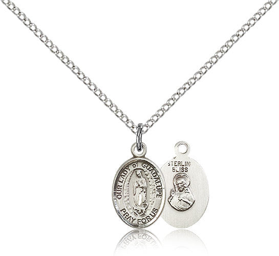Sterling Silver Our Lady of Guadalupe Medal with Chain Pendant Small