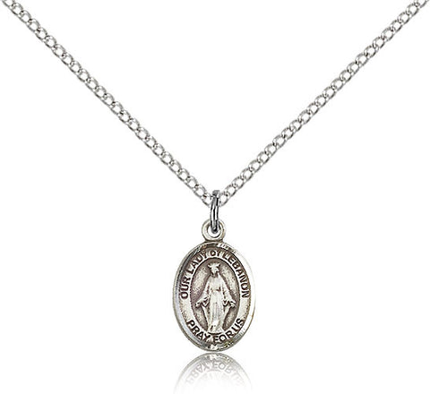 Sterling Silver Our Lady of Lebanon Medal with Chain Pendant Small