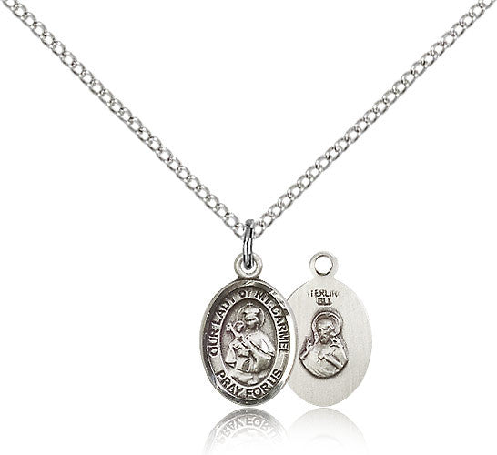 Sterling Silver Our Lady of Mount Carmel Medal with Chain Pendant Small