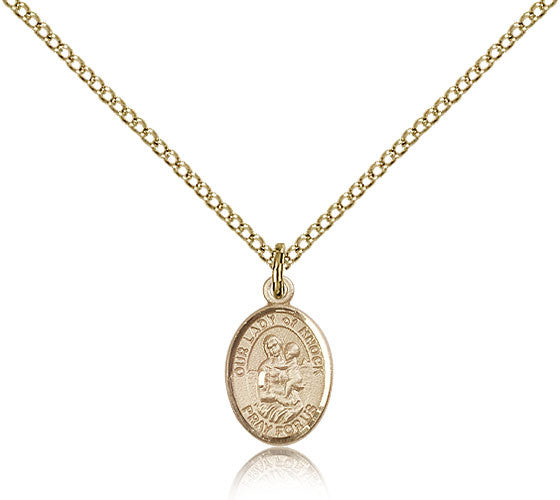 Gold Filled Our Lady of Knock Medal with Chain Pendant