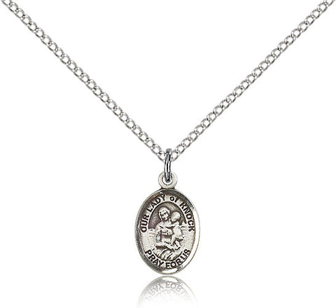 Sterling Silver Our Lady of Knock Medal with Chain Pendant Small