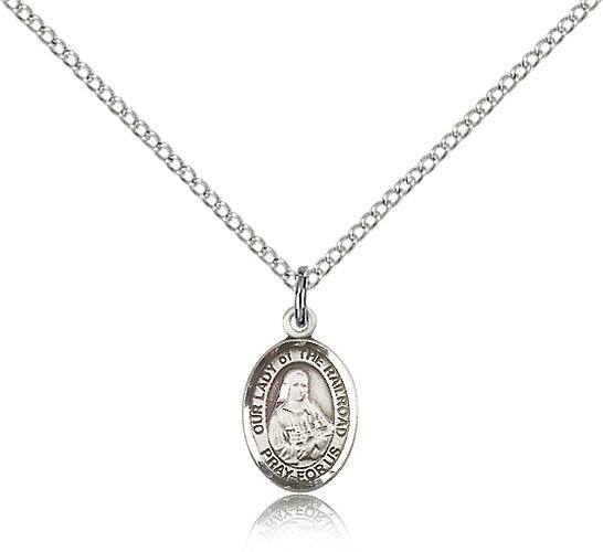 Sterling Silver Our Lady of the Railroad Medal with Chain Pendant Small