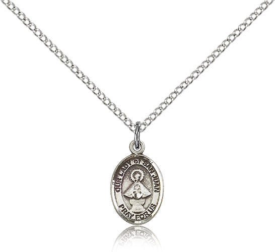 Sterling Silver Our Lady of San Juan Medal with Chain Pendant Small