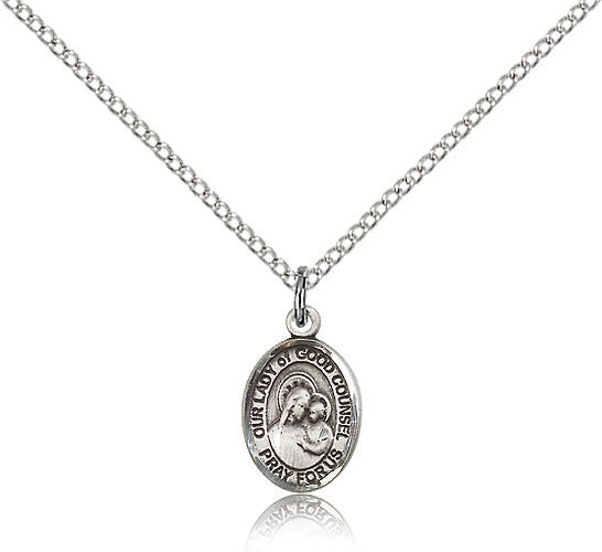 Sterling Silver Our Lady of Good Counsel Medal with Chain Pendant Small