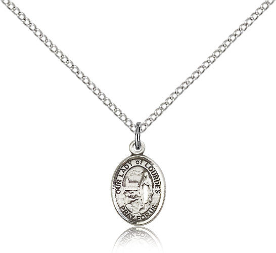Sterling Silver Our Lady of Lourdes Medal with Chain Pendant Small