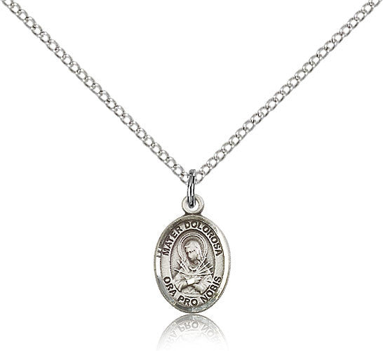 Sterling Silver Mater Dolorosa Medal with Chain Pendant Small