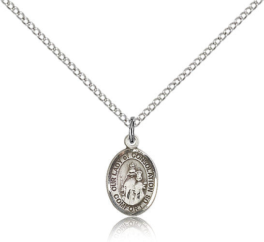 Sterling Silver Our Lady of Consolation Medal with Chain Pendant Small
