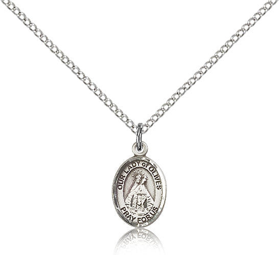 Sterling Silver Our Lady of Olives Medal with Chain Pendant Small