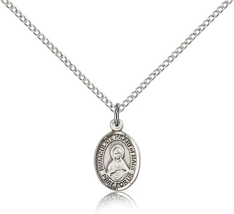 Sterling Silver Immaculate Heart of Mary Medal with Chain Pendant