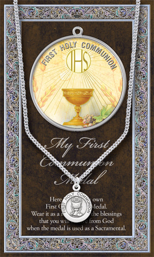 Pewter First Communion Medal on Chain