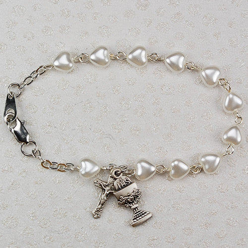 "6.5"" Pearl Heart First Communion Bracelet"