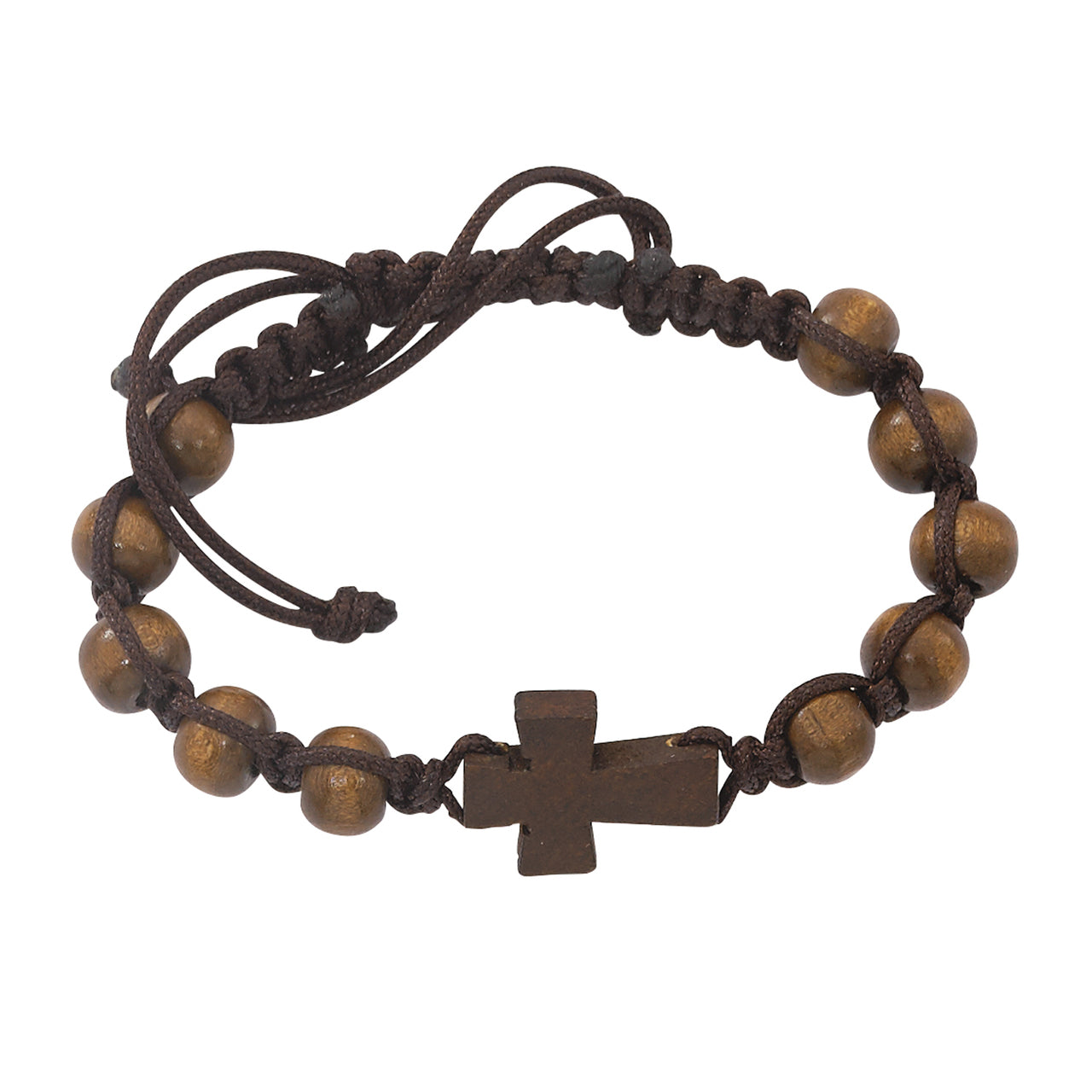 Brown Corded Cross Bracelet