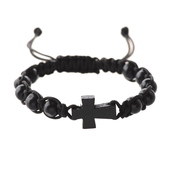 Black Corded Cross Bracelet