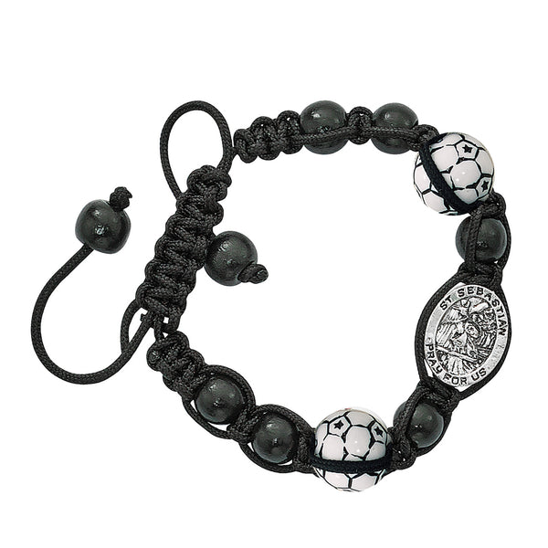 Black Corded Sports Bracelet- Soccer