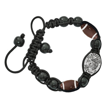 Black Corded Sports Bracelet- Football
