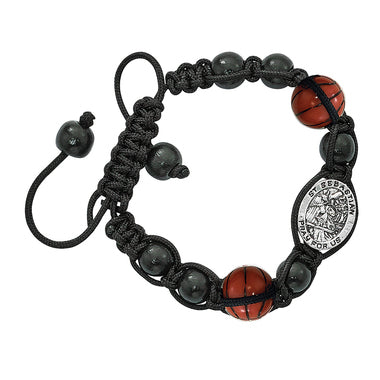 Black Corded Sports Bracelet- Basketball