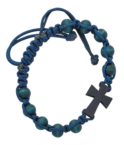 Blue Corded Cross Bracelet