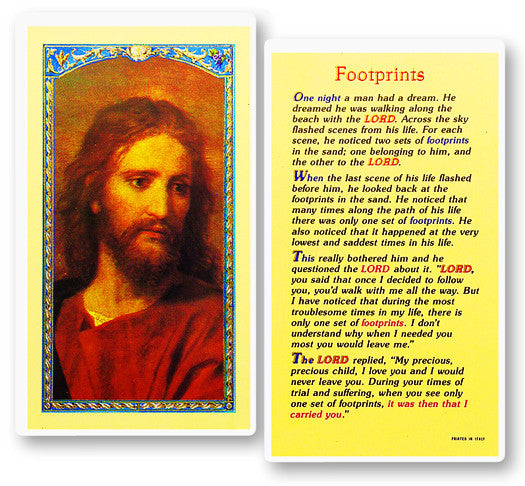 Footprints Holy Card