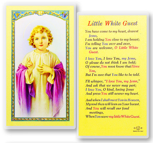 Little White Guest Holy Card