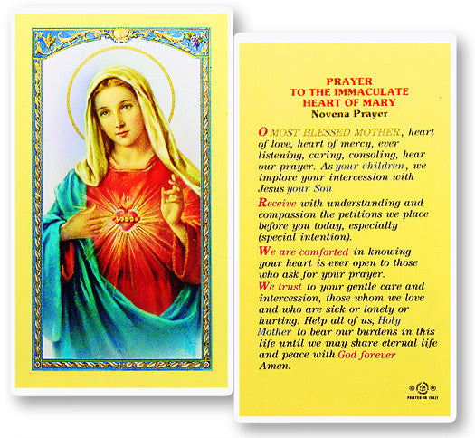 Novena to the Immaculate Heart of Mary Holy Card