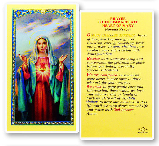 Immaculate Heart of Mary Novena Holy Card