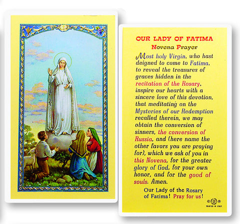 Our Lady of Fatima Novena Holy Card