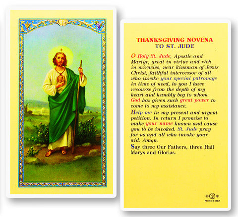 Thanksgiving Novena to St. Jude Holy Card