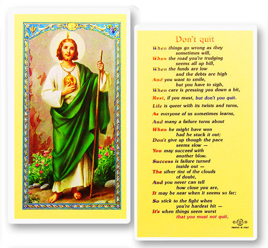 Don't Quit Holy Card