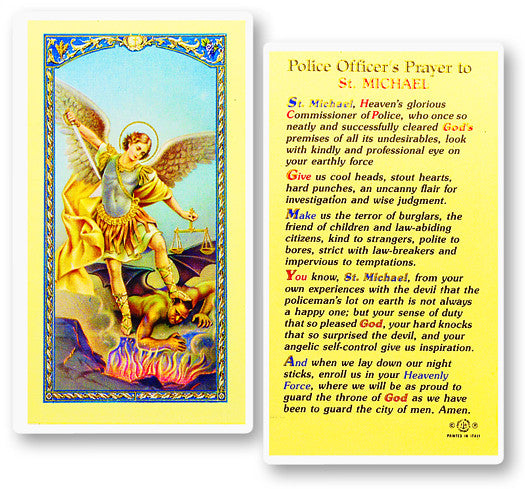 Police Officer's Prayer to St. Michael Holy Card