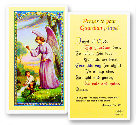 Guardian Angel - Boy Holy Card