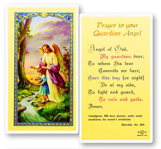 Guardian Angel - Girl Holy Card
