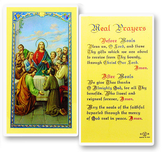 Meal Prayers Holy Card