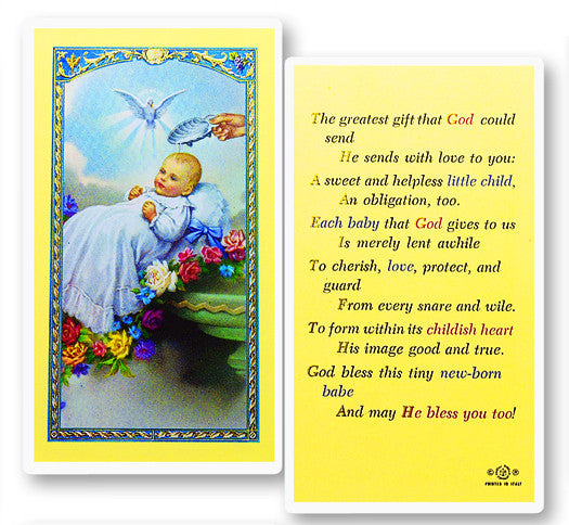 Baby's Baptism Holy Card