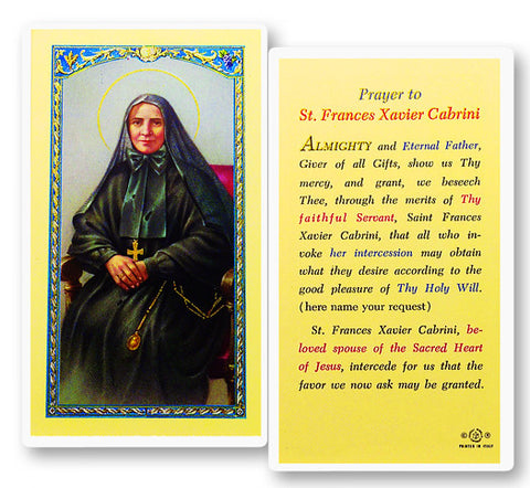 St. Frances Cabrini Holy Card