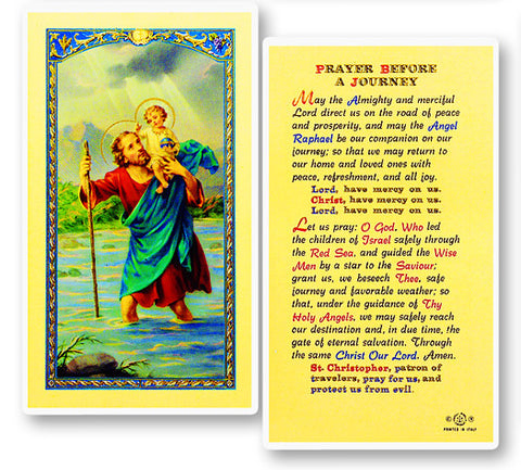 St. Christopher - Prayer Before a Journey Holy Card