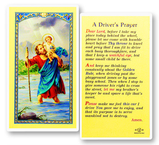 St. Christopher - Driver's Prayer Holy Card