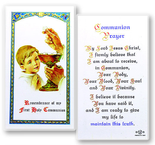 Communion Boy Holy Card