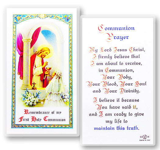 Communion Girl Holy Card