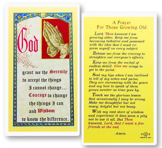 Prayer for Growing Old Holy Card