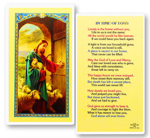 In the Time of Loss Holy Card