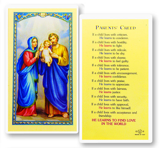 Parents Creed Holy Card