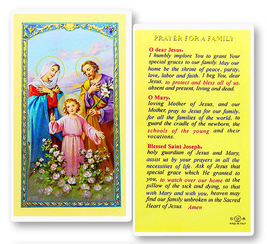 Prayer for a Family Holy Card