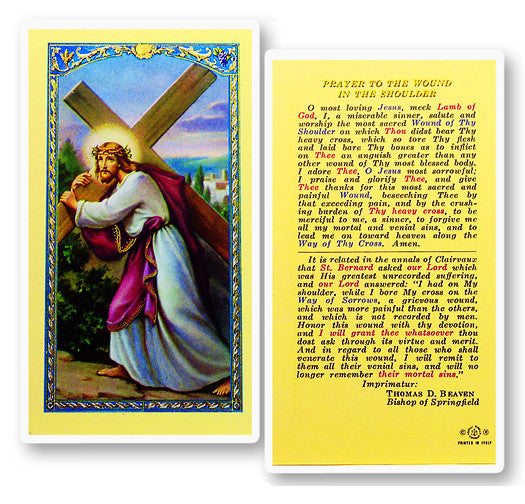 Wound in the Shoulder Holy Card