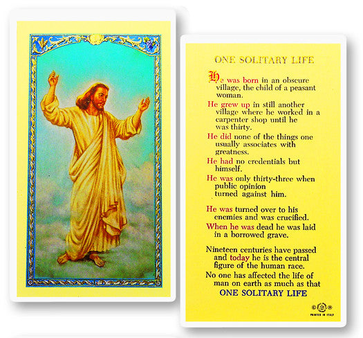 One Solitary Life Holy Card